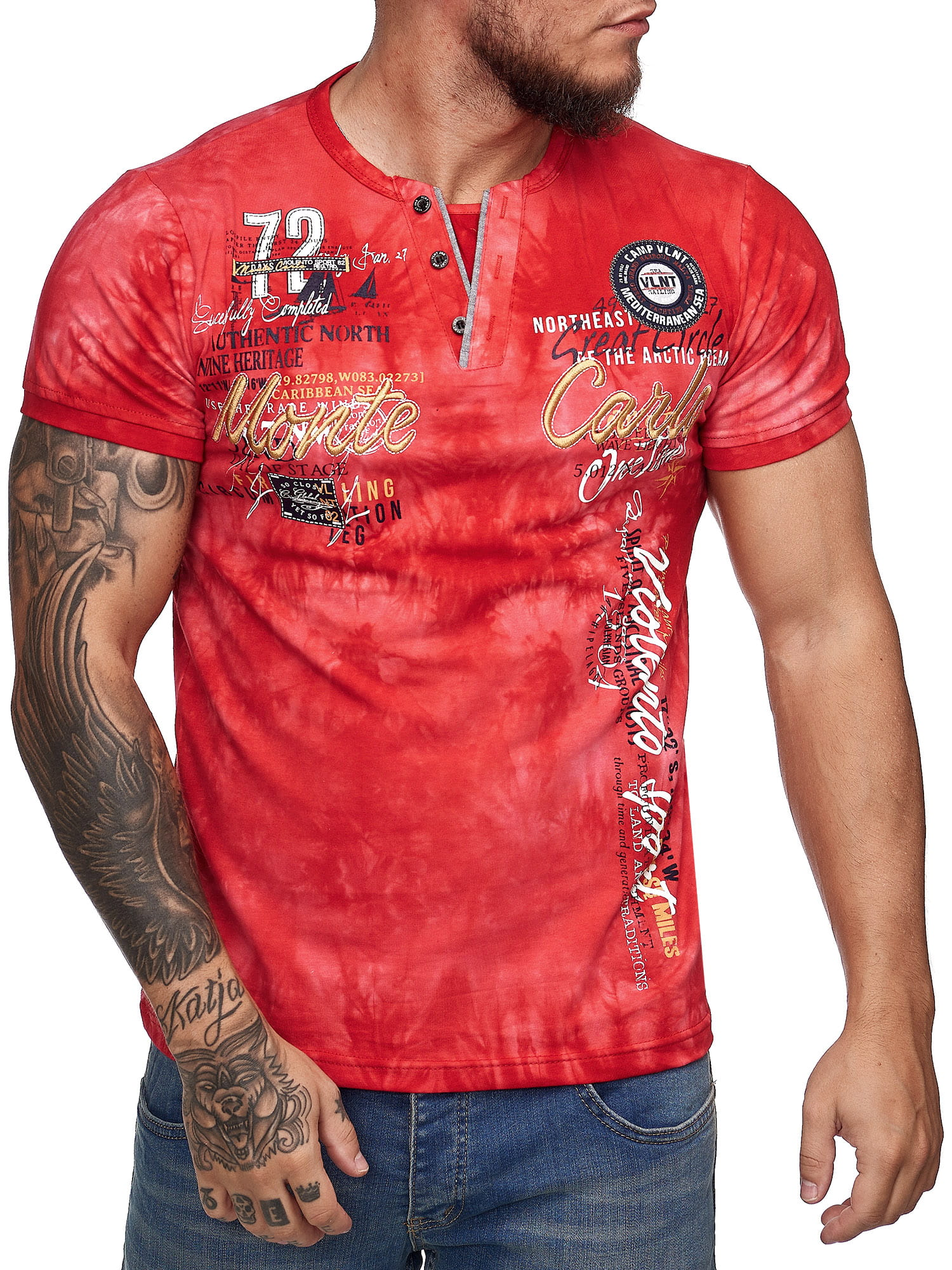 Herren T Shirt Poloshirt Shirt Kurzarm Printshirt Polo Kurzarm 3DS8